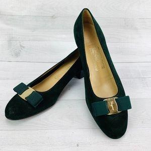 Salvatore Ferragamo Vara Bow Pump Shoe Green Suede